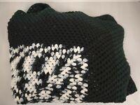 """Vintage Homemade Granny Square Blanket Throw Quilt 65"""" X 60"""" Black White Crochet"""