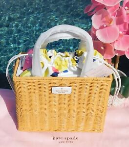 🌸 Kate Spade New York Sam Wicker Medium Satchel Lemon Zest Optic White NEW