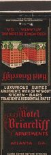 VINTAGE HOTEL MATCHBOOK COVER. HOTEL BRIARCLIFF APARTMENTS. ATLANTA, GA.