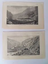 TUNNEL MONT CENIS AND ST GOTTHARD PAIR OF ANTIQUE PRINTS DATED 1880