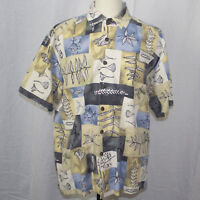 Kahala Camp Aloha Hawaiian Shirt Square Pattern Men Size XL EUC