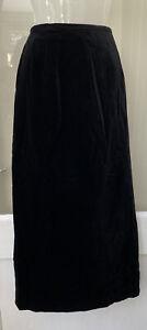 Vintage Laura Ashley Black Velvet Long Lined Skirt Size 16 Edwardian Classic