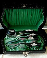 Antique Royal Artistic Art Nouveau Silver and Ebony Boxed Travel Manicure Set