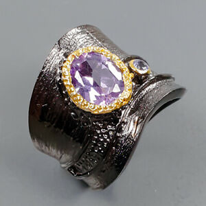 Jewelry Unique  Amethyst Ring Silver 925 Sterling  Size 7.5 /R173870