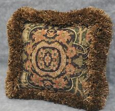 """Pillow 9"""" MINI made w Ralph Lauren Rutherford Park Green Tapestry Fabric  fringe"""