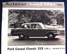 FORD CONSUL CLASSIC 315 (116E) 1499cc - 1962 - Road Test from Autocar magazine
