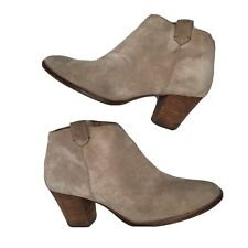 Madewell 7.5 Billie Boot Tan Suede Leather Side Zip Round Toe Heeled Boot Bootie