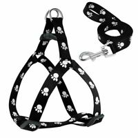 Nylon Dog Harness and Leash Set Paw Print Red Small Soft Pet Walking for Dog