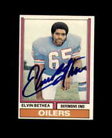 Elvin Bethea Hand Signed 1974 Topps Houston Oilers Autograph
