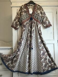 ANOKHI East Paisley Indian Block Print Cotton Blue/Gold Maxi Dress L,14,16 NEW