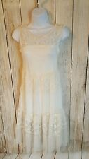 Zara Trafaluc Ivory Lace Sleeveless Cotton Lined Dress Hippie Festival  Sz Small