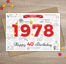 1978 MALE MENS Happy 40th Birthday Birth Year Memories Facts Greetings Card Red