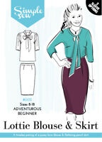 Womens Ladies Simple Sew Lottie Blouse and Skirt Combo Sewing Pattern UK 8-18