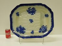 MASSIVE Antique Flow Blue COBOURG Staffordshire Transferware Well & Tree Platter