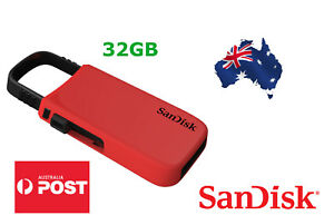 SanDisk 32GB CZ59 Cruzer U Series USB 2.0 Flash Drive Red or White on Keychain