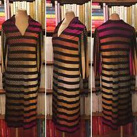 VTG 70s 80s kaftan dress UK 8-10-12 US 4-6-8 psychedelic print relaxed crepe