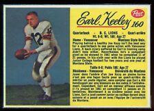 1963 POST CFL FOOTBALL #160 EARL KEELEY B C LIONS EX-NM MONTANA STATE UNIV