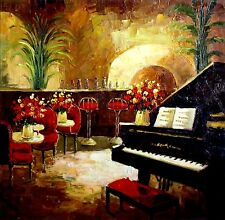 Stretched,  Piano Bar, Heavy Impasto Quality Hand Painted Oil Painting 36x36in