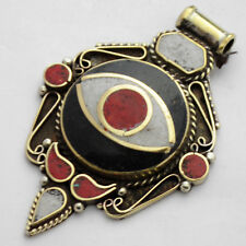 Evil Eye Coral Howlite Pendant Brass Tibetan Nepalese Ethnic Tribal Nepal UP978