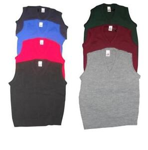 Mens Kids Plain V Neck Sleeveless Sweater Jumper Tank Top Jersey Golf Casual UK