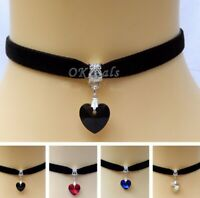 Jewelry Crystal Handmade Retro Velvet Choker Necklace Pendant Heart