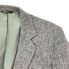 VTG Harris Tweed Men's Blazer Jacket 2-Button Gray Wool Herringbone • 42 Reg