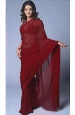 6.5yd Dark Maroon Chiffon Saree Long Evening Christmas Dress Material Gown Drape