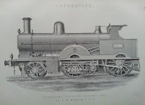ANTIQUE PRINT C1870'S LOCOMOTIVE ENGRAVING COMPOUND EXPRESS LOCOMOTIVE TRAINS