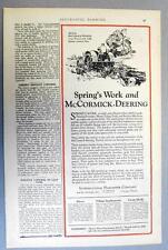 Original 1926 Farmall Tractor Ad MCCORMICK DEERING 15-30 W/ LITTLE GENIUS PLOW