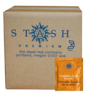 Stash Tea Decaf Pumpkin Spice Black Tea 100 Count Tea Bags in Foil packaging may