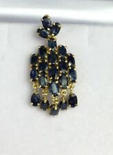 14k Solid Yellow Gold Cluster Charm Pendant,Natural Sapphire 3.87 Grams