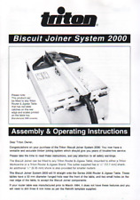 Triton Biscuit Joiner System 2000 BJA001 Assembly & Operating Instructions