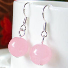 New Fashion 10mm Pink Jade Round Beads Silver Dangle Hook Earrings