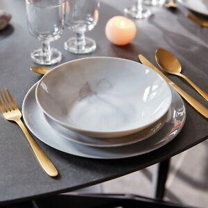 Luminarc Diwali Grey Marble 18pc 19pc Opal Glass Dinner Set Dinnerware Tableware