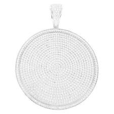 "Sterling Silver Medallion Pendant Simulated Diamonds Pave Set 4.1"" Charm Hip Hop"