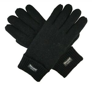Bruceriver Mens Wool Knit Gloves with Warm Soft Thinsulate Fleece Lining