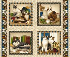 Patchwork Stoff Baumwolle Panel Four Paws Katzen Kätzchen Kissen beige 90x112 cm