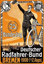 Art ad 25 Bundestag 1908 alemán Bremen Bicicleta Ciclo Bici cartel impresión