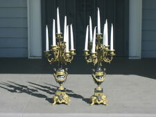 """Brass and marble candelabra made in Italy with cherubs (2 lot) 24""""H"""