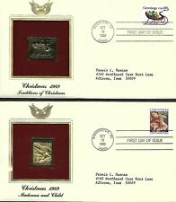 USA 1989 FDC SLEIGH FULL OF PRESENTS, MADONNA & CHILD GOLD FOIL CHRISTMAS