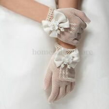 Kids Cream Lace Pearl Fishnet Gloves First Communion Wedding Flower Girl Party