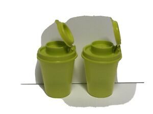 TUPPERWARE Salt and Pepper Shakers Spice Small Midgets Mini Chartreuse Green