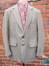 L 42R - Vintage 60's Mens Grey Check Thornproof Twist Tweed Jacket Shooting C840