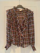 ANTHROPOLOGIE MAEVE RUFFLE CHECK CREPE CROSS OVER SHIRT BLOUSE NEW SIZE 12