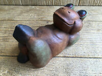 Frog Figurine Hand Carved Wood Wooden Figure Vintage Cutey!