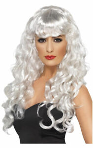 Womens Long White Curly Wig With Fringe Fancy Dress Costume Accessory