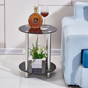 2 Tier Round Glass Side Table Table End Table Chrome Legs Home Living Room Black
