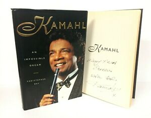 KAMAHL  AN IMPOSSIBLE DREAM  SIGNED BOOK SINGER  ENTERTAINER  COA