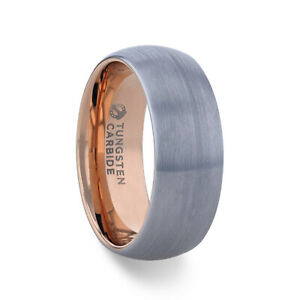 CAMERON Brushed Finish Tungsten Carbide Men's Wedding Band With Rose Gold - 8mm