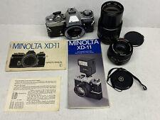 Minolta XD11 35mm SLR Film Camera w MD Rokkor 50mm F1.7 e Obiettivo Minolta da 135mm-J12